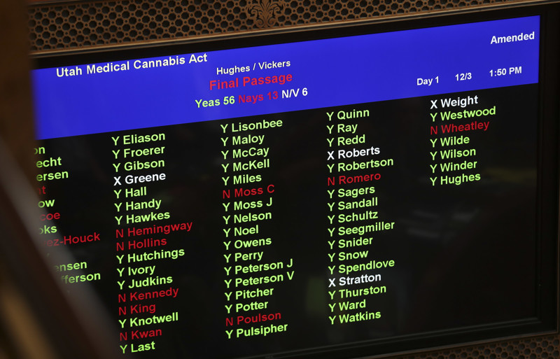 Legislators' votes are tallied as they pass a wide-ranging medical marijuana bill replacing the ballot initiative that voters approved Nov. 6, 2018, during a special session at the State Capitol in Salt Lake City on Monday, Dec. 3, 2018.