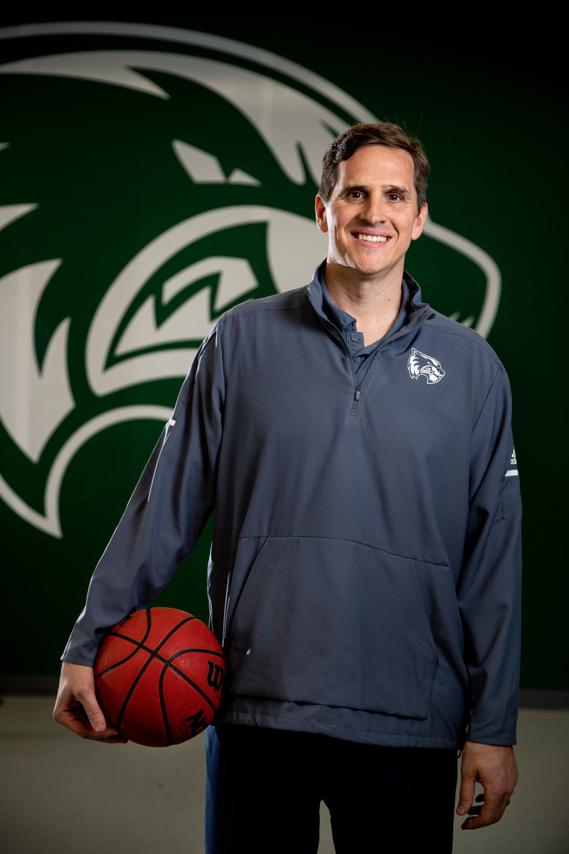 Utah Valley University basketball head coach Mark Madsen poses for a photo at the team's practice facility in Orem on Thursday, May 9, 2019.