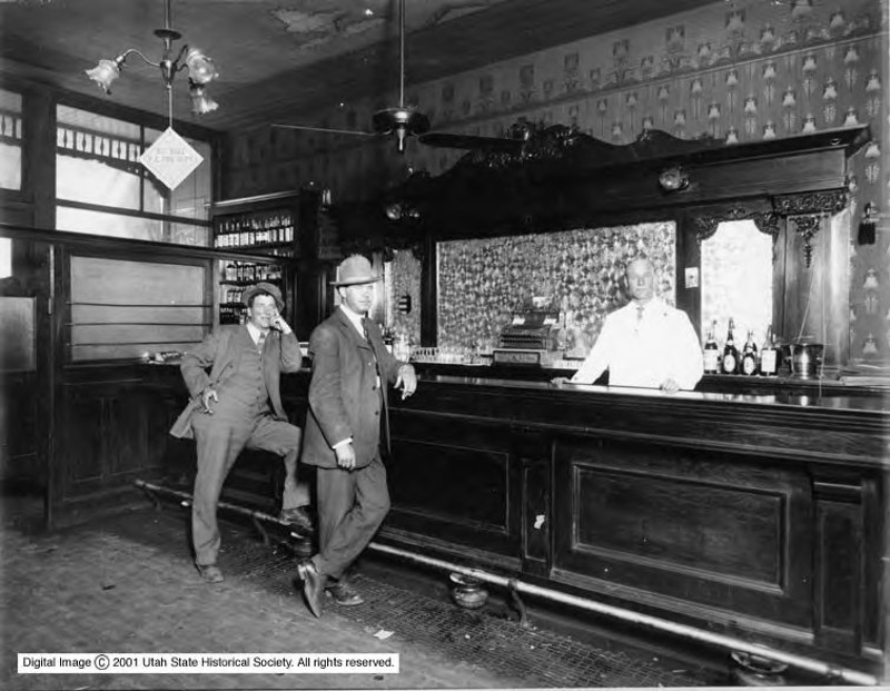 The James A. Hamilton and Peter Farnum Saloon at 596 Main Street in Park City, Utah, is photographed in 1913.