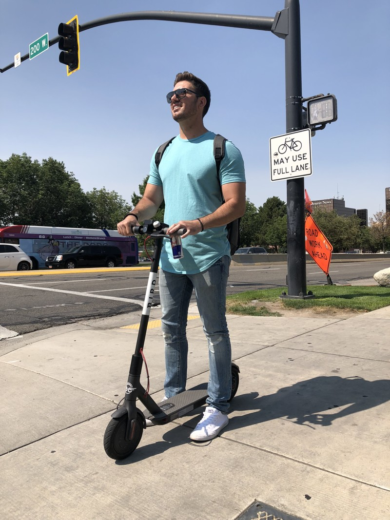 Chicago resident Boris Kuljanin took a break from his business visit to Salt Lake City Friday to take a Bird scooter out for a ride. Bird Rides Inc. expanded its Utah fleet Friday, adding