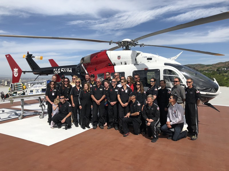 The University Hospital AirMed team celebrates 40 years of saving lives Thursday, May 31, 2018, on the hospital's helicopter pad in Salt Lake City.