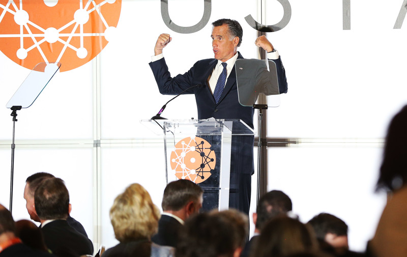 Republican U.S. Senate candidate Mitt Romney speaks at the Utah Technology Innovation Summit in Salt Lake City on Wednesday, June 6, 2018. Romney faces state Rep. Mike Kennedy, R-Alpine, in the June 26 primary.