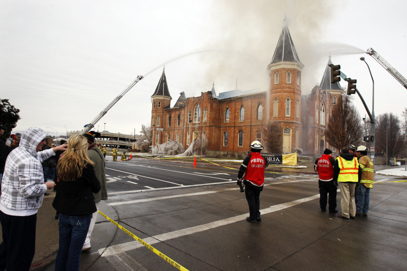 Provo City firefighters respond to a large fire at the historic Provo Tabernacle. Friday, Dec. 17, 2010.