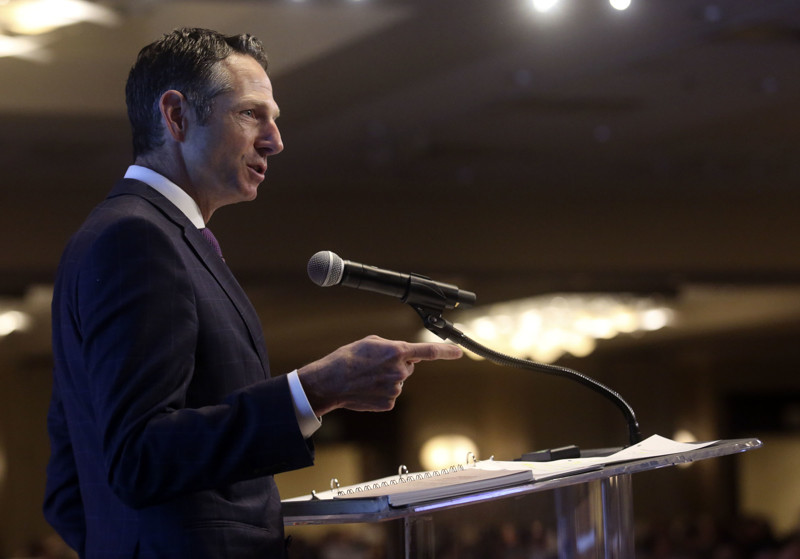 FILE - Derek Miller, president and CEO of the Salt Lake Chamber and Downtown Alliance, speaks at the Utah Economic Outlook and Public Policy Summit at the Salt Lake Marriott Downtown at City Creek in Salt Lake City on Friday, Jan. 18, 2019.