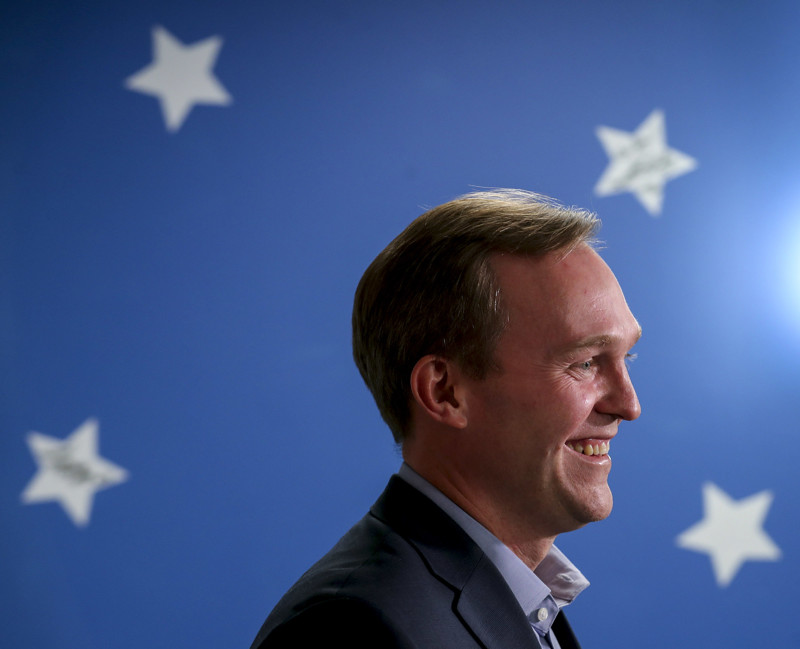Democratic Salt Lake County Mayor Ben McAdams smiles as he declares victory over GOP Rep. Mia Love in the 4th Congressional District during a press conference at his campaign headquarters in Millcreek on Monday, Nov. 19, 2018.