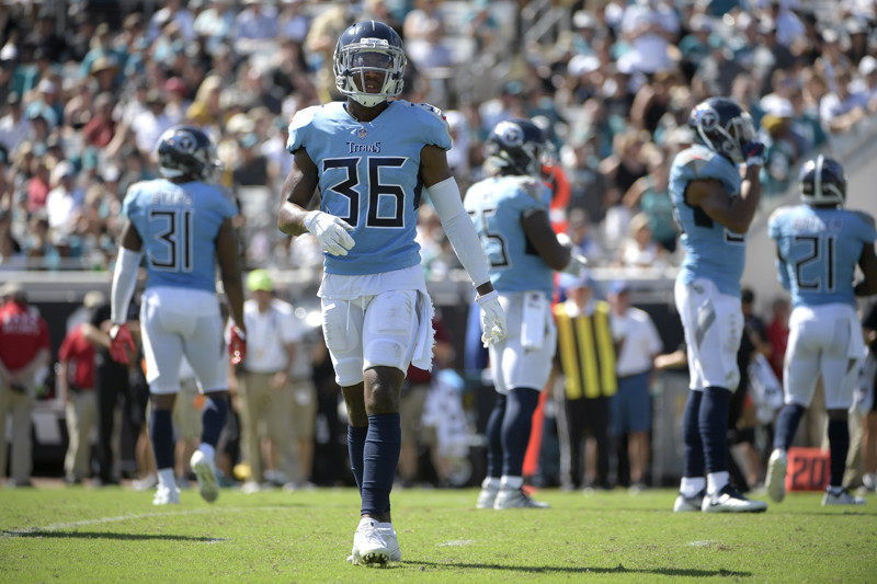 9f914039 Tennessee Titans cornerback LeShaun Sims (36) sets up for a play during the  second