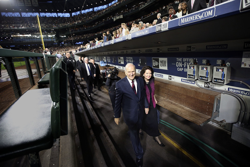 President Russell M. Nelson of The Church of Jesus Christ of Latter-day Saints and his wife, Sister Wendy Nelson, walk through the dugout to leave Safeco Field after speaking to a crowd of more than 49,000 people in Seattle, Wash., on Saturday, Sept. 15, 2018.