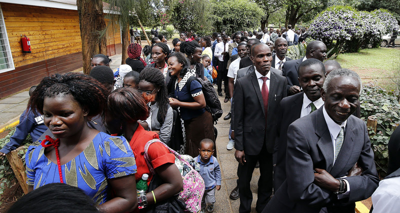 People line up to attend a special devotional with President Russell M. Nelson of The Church of Jesus Christ of Latter-day Saints in Nairobi, Kenya, on Monday, April 16, 2018.