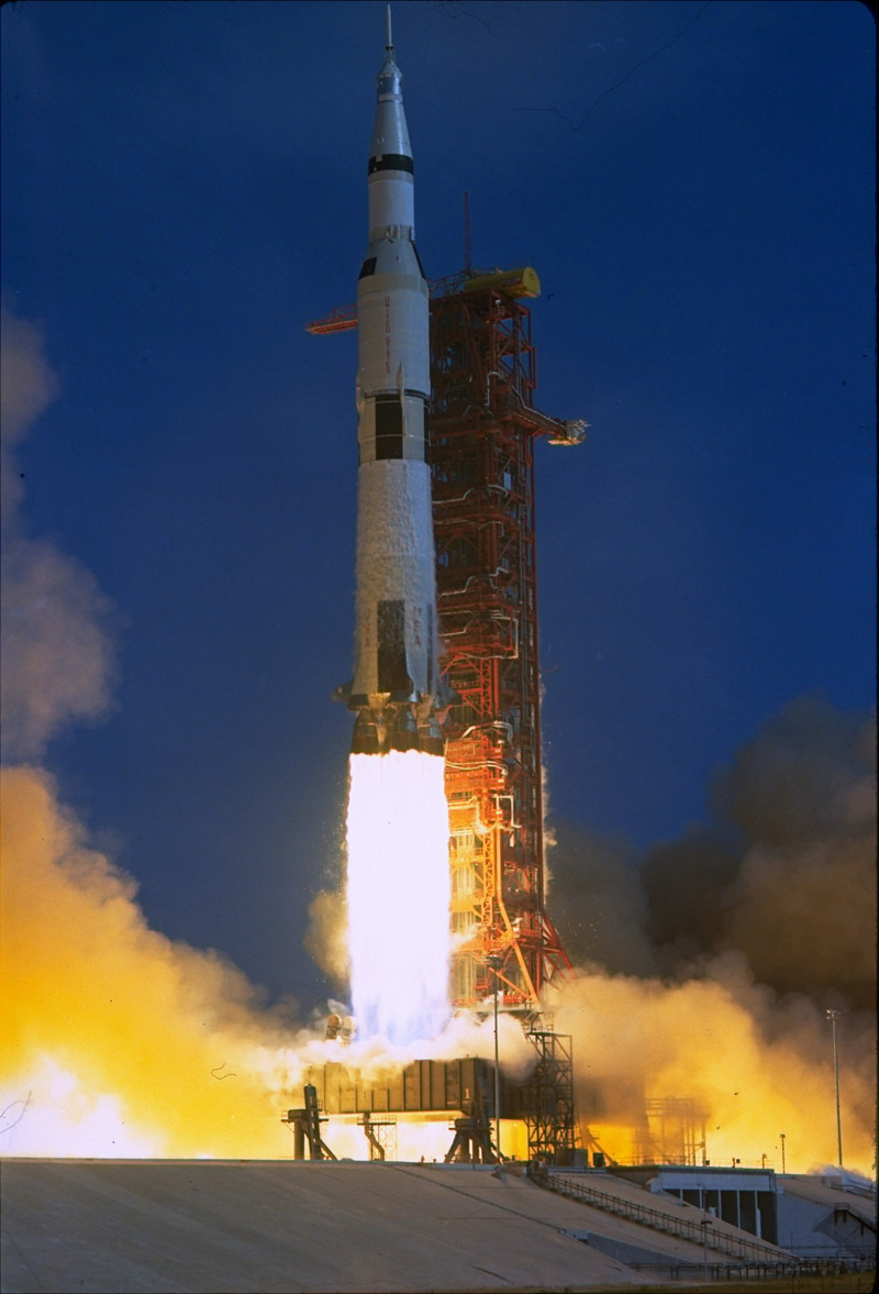 The Project Apollo 11 blastoff to the moon from Cape Kennedy, Florida, July 16, 1969.