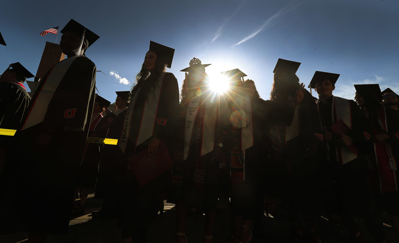 Graduates walk during the procession at the University of Utah commencement in Salt Lake City on Thursday, May 2, 2019.