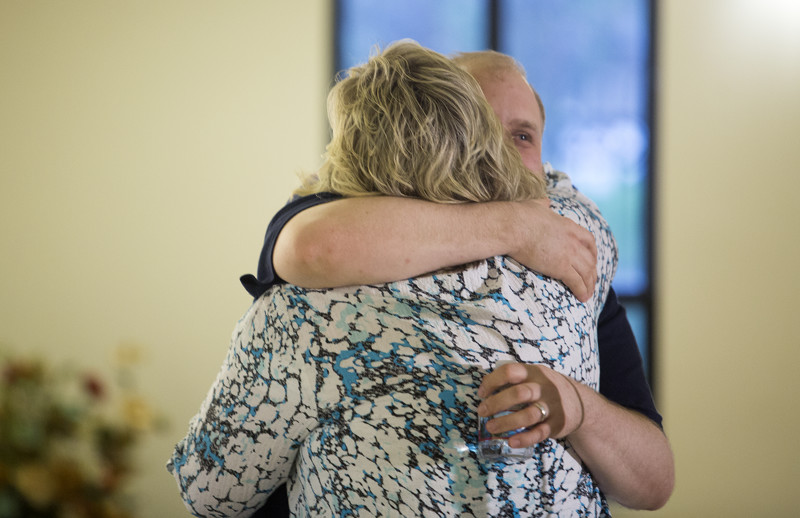 Josh Holt hugs his mother Laurie Holt during a welcome-home event in the Old Dome Meeting Hall at Riverton City Park in Riverton, Utah, Monday, May 28, 2018.