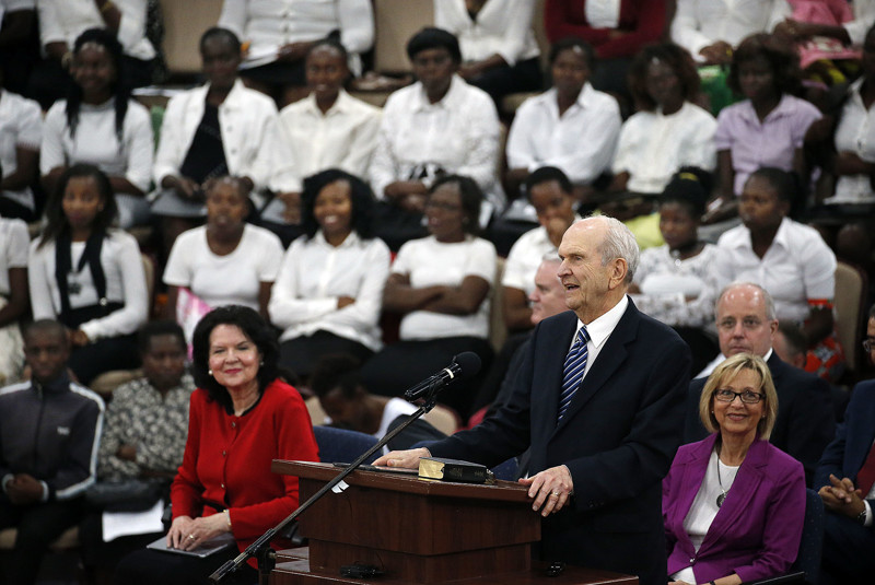 President Russell M. Nelson of The Church of Jesus Christ of Latter-day Saints speaks during a special devotional in Nairobi, Kenya, on Monday, April 16, 2018.
