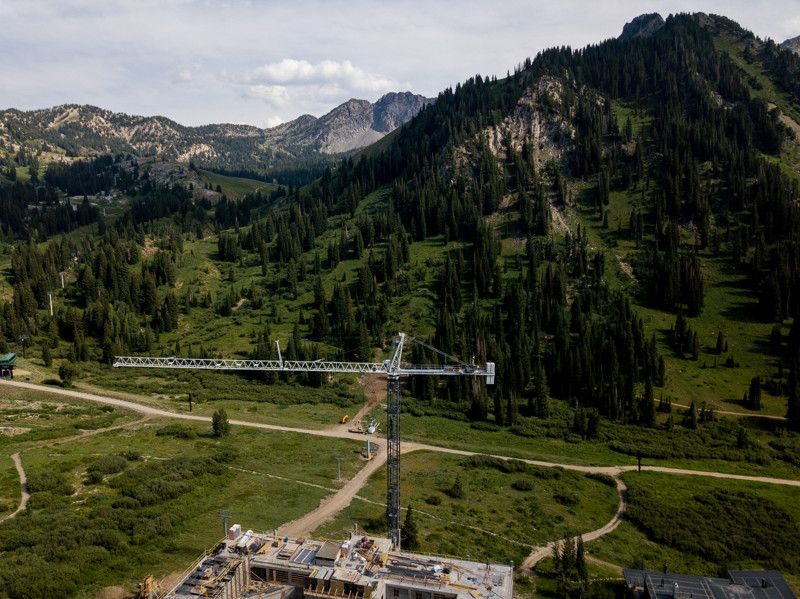 A crane stands over a construction project near Alta Ski Resort in Alta on Thursday, July 26, 2018.