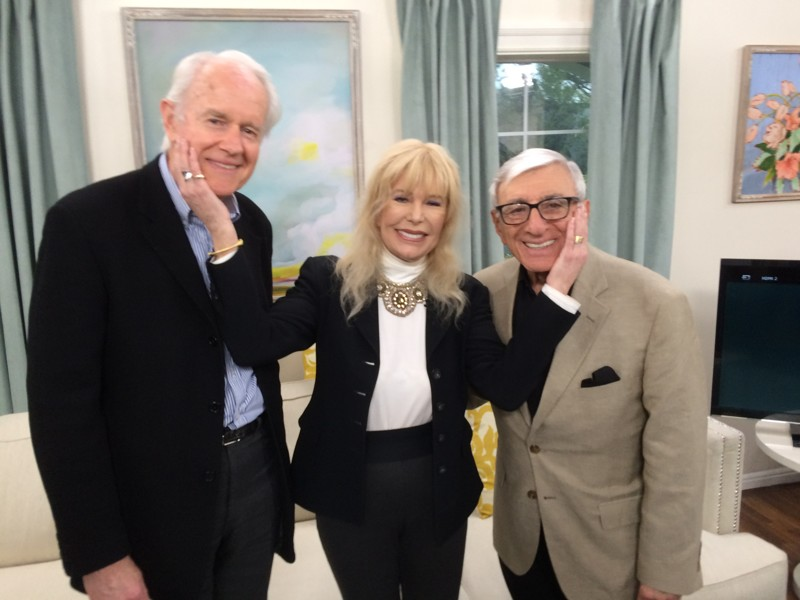 """Mike Farrell, Loretta Swit, and Jamie Far at a book signing for """"Swithearts: The Watercolour Artistry and Animal Activism of Loretta Swit."""""""