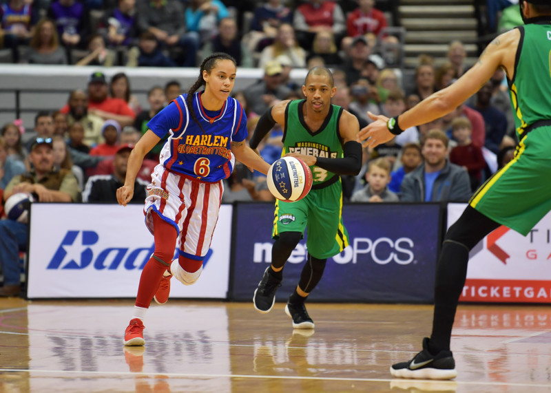Hoops Green takes on the Washington Generals in a friendly game of basketball. The Harlem Globetrotters will be in Salt Lake City on Nov. 3 at the Vivint Smart Home Arena.