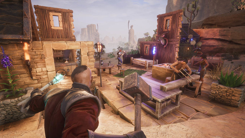 A player-controlled warrior oversees construction in the Exiled Lands in