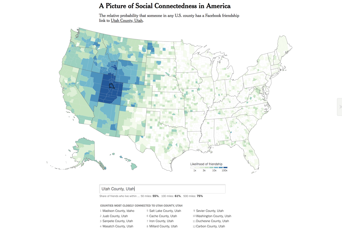 Sanpete County Utah Map.How Connected Is Utah New Nyt Interactive Tool Offers A Clue