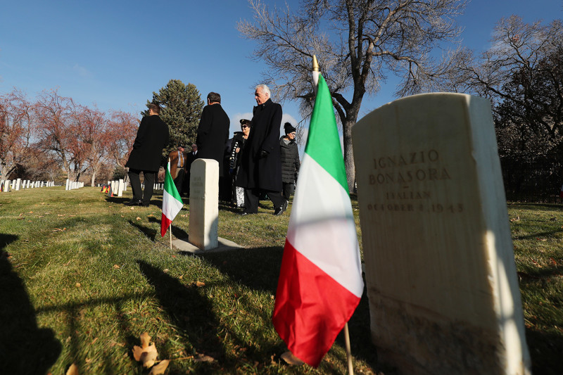 Gov. Gary Herbert and Elder Dieter F. Uchtdorf, of The Church of Jesus Christ of Latter-day Saints' Quorum of the Twelve Apostles, walks through graves during the German Day of Remembrance (Volkstrauertag) at Fort Douglas Military Cemetery in Salt Lake City on Sunday, Nov. 18, 2018.
