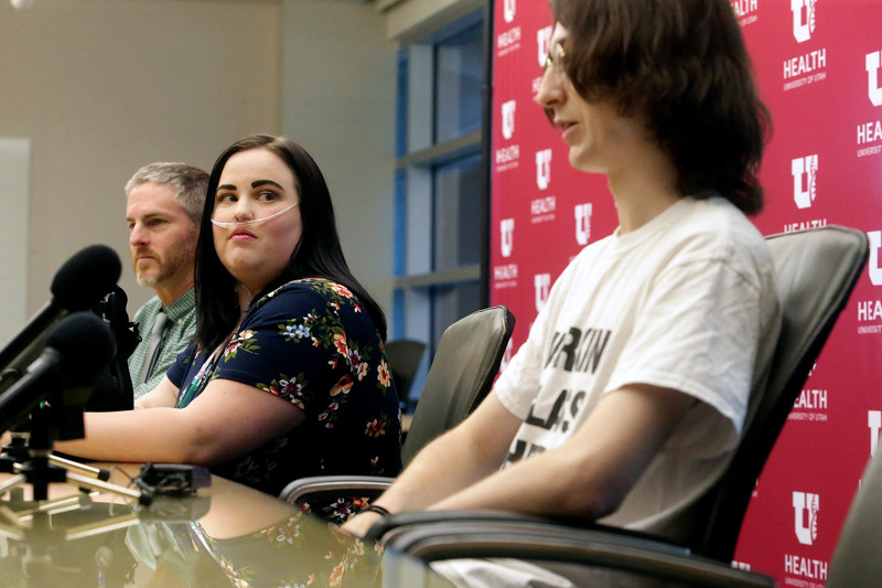 Aubree Butterfield listens as Alexander Mitchell during a press conference at the University of Utah Hospital in Salt Lake City on Tuesday, Aug. 6, 2019. Both Butterfield and Mitchell were treated for lipoid pneumonia linked to vaping,