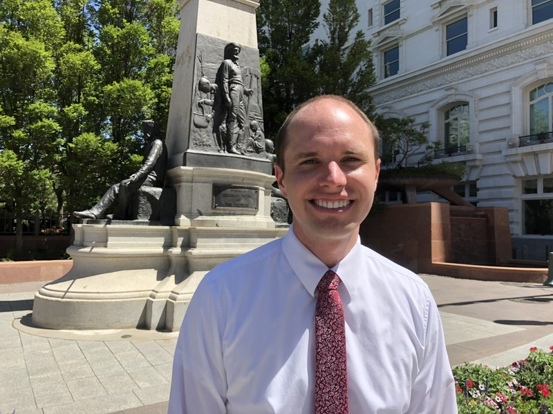 Jacob Oscarson, Rebecca Winters' fourth great-grandson, is pictured next to Temple Square in Salt Lake City on Tuesday, July 10, 2019. Rebecca Winters died of cholera in Nebraska in 1852 during the handcart trek to Utah.