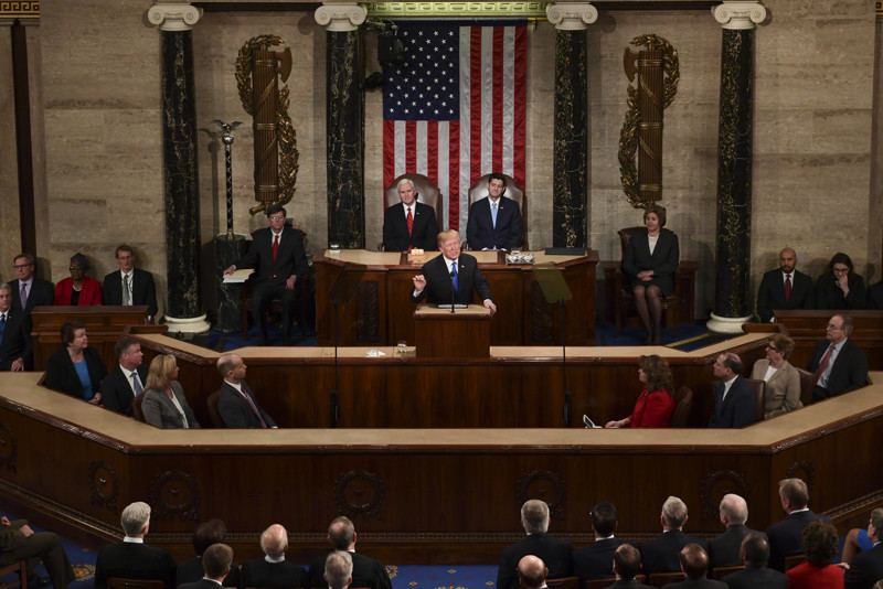 President Donald Trump delivers his State of the Union address to a joint session of Congress on Capitol Hill in Washington, Tuesday, Jan. 30, 2018. (AP Photo/Susan Walsh)