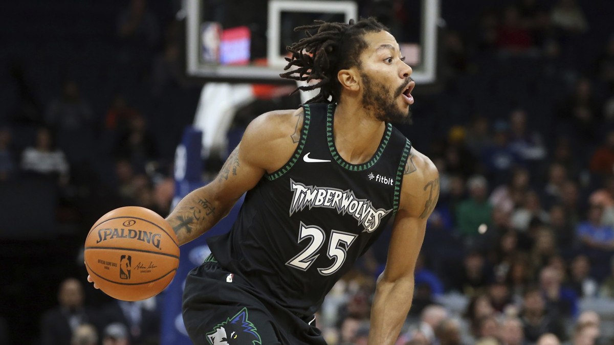 1ebc13a14b85 Wolves guard Derrick Rose returns to MVP form with career-high 50 points  against Jazz one year after being waived