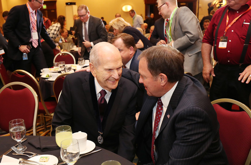 LDS Church President Russell M. Nelson speaks with Gov. Gary Herbert at the Utah Technology Innovation Summit in Salt Lake City on Wednesday, June 6, 2018. PresidentNelson was given a lifetime achievement award for his accomplishments as a heart surgeon and researcher.