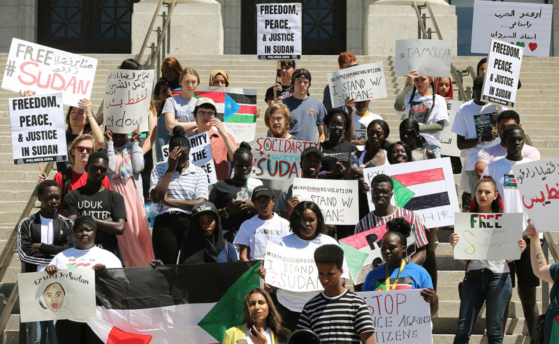 March for Refugees hosts a rally for Sudan at the Capitol in Salt Lake City on Saturday, June 29, 2019.