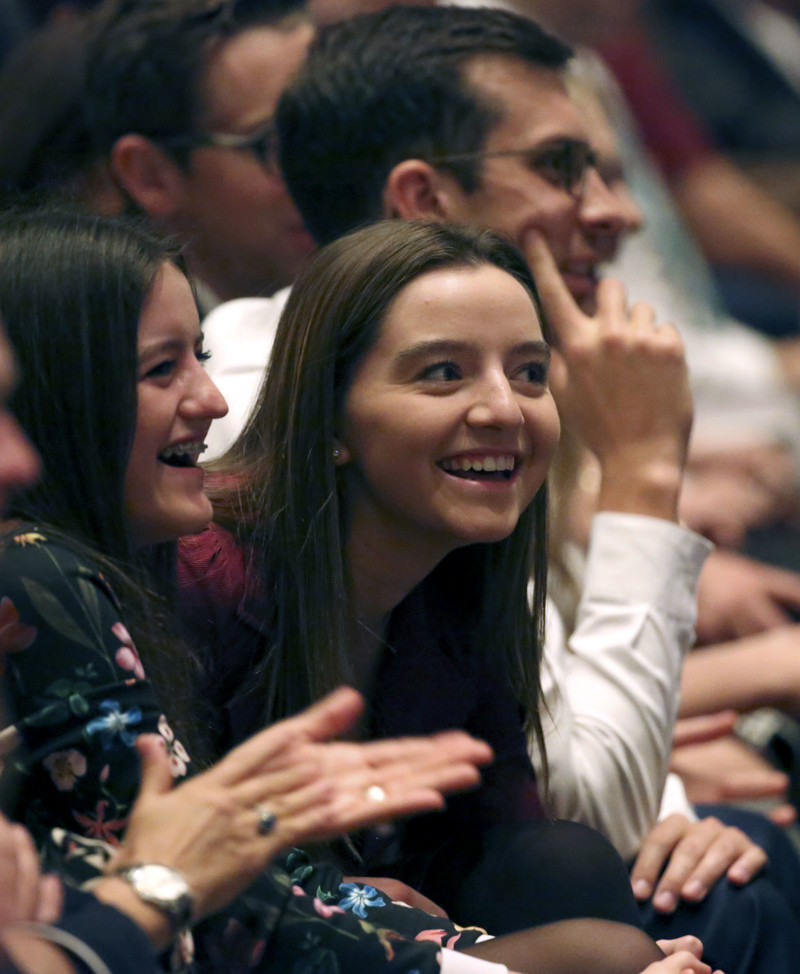 Conferencegoers react to the announcement of 12 new temples during the Sunday afternoon session of the 188th Semiannual General Conference of The Church of Jesus Christ of Latter-day Saints in the Conference Center in downtown Salt Lake City on Sunday, Oct. 7, 2018.