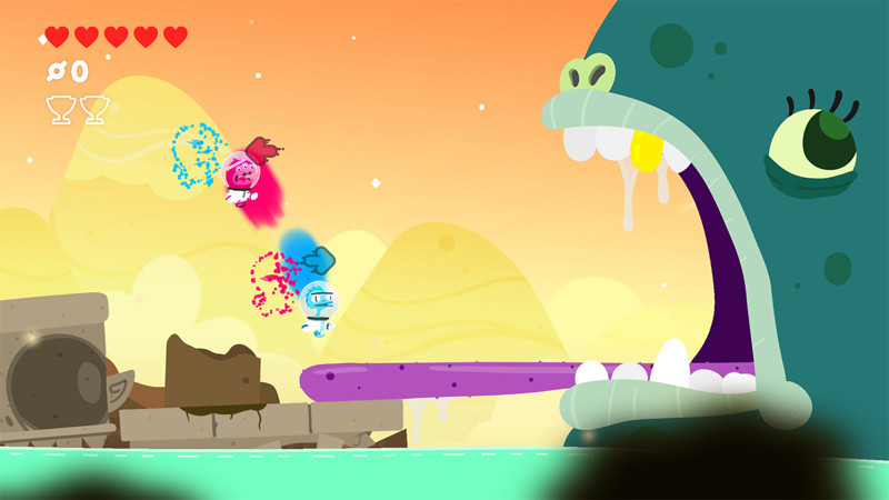 Two colorful astronauts jump towards a giant monster in