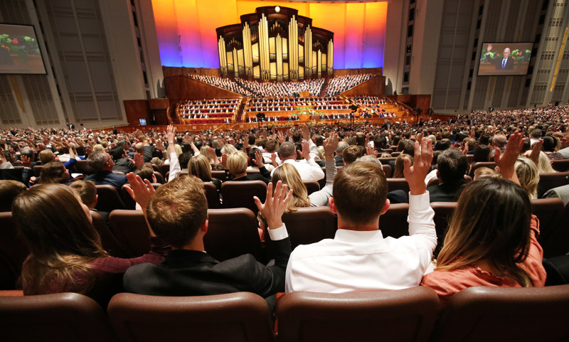 Attendees sustain leaders during the Saturday afternoon session of the 189th Annual General Conference of The Church of Jesus Christ of Latter-day Saints in the Conference Center in Salt Lake City on Saturday, April 6, 2019.
