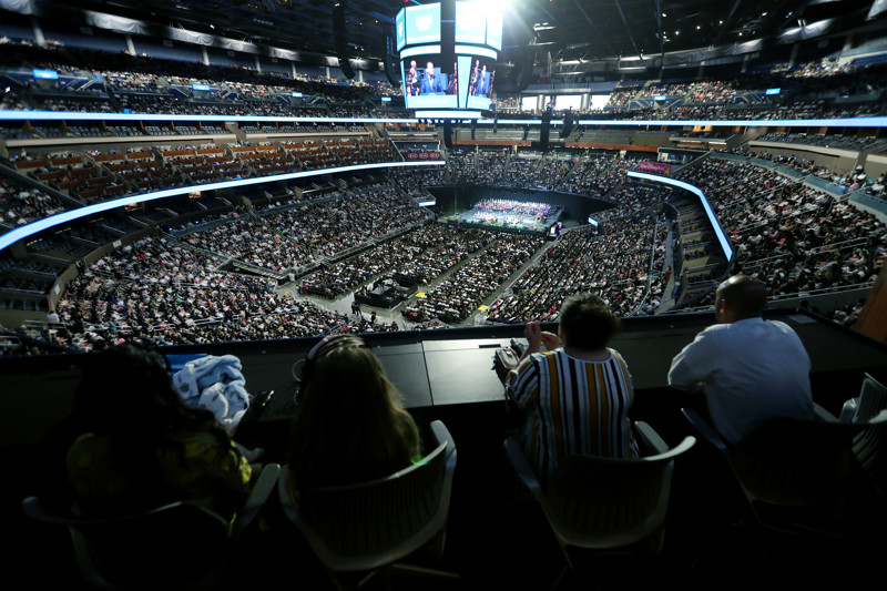 A near-capacity crowd gathers inside the Amway Center in Orlando, Florida to listen to President Russell M. Nelson and others speak at a devotional on Sunday, June 9, 2019.