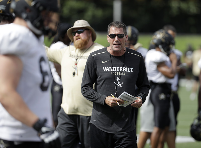 Vanderbilt offensive coordinator Andy Ludwig instructs players during an NCAA college football practice Thursday, Aug. 16, 2018, in Nashville, Tenn. (AP Photo/Mark Humphrey)