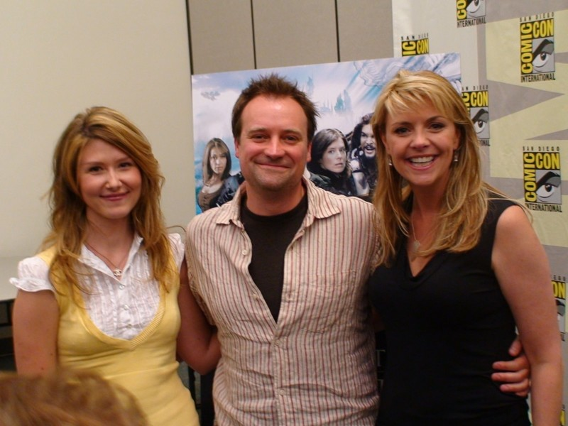 "Jewel Staite, David Hewlett and Amanda Tapping at San Diego Comic-Con. All three actors starred together in ""Stargate: Atlantis."""