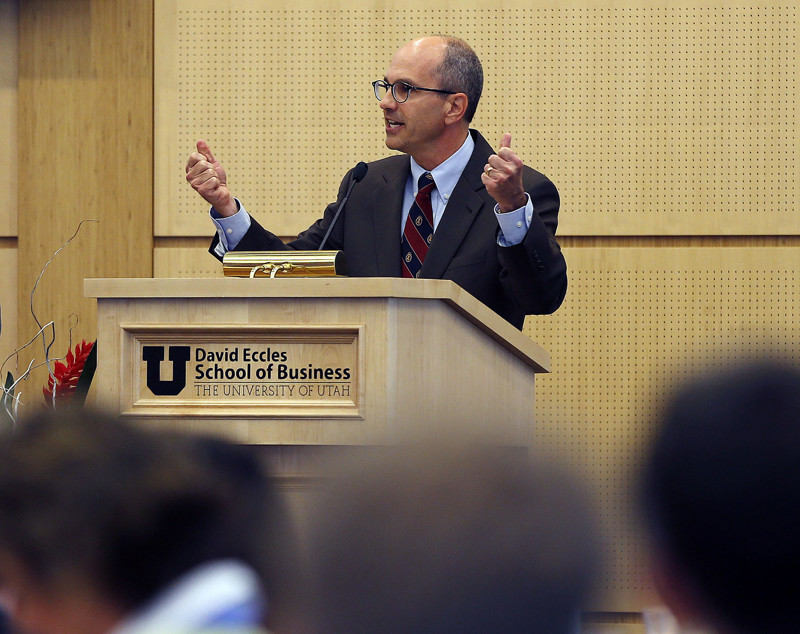 Deseret News Editor Paul Edwards speaks during the 2014 Economic Opportunity Forum at the University of Utah in Salt Lake City, Wednesday, Nov. 12, 2014.