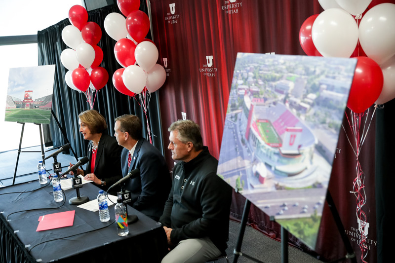 University of Utah President Ruth Watkins, Athletics Director Mark Harlan and football head coach Kyle Whittingham conduct a press conference about the upcoming expansion of Rice-Eccles Stadium at the stadium in Salt Lake City on Wednesday, Nov. 14, 2018.