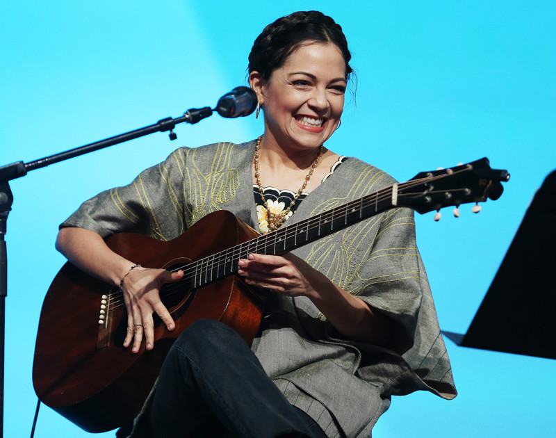Mexican pop-rock singer Natalia Lafourcade sings during RootsTech in Salt Lake City on Saturday, March 3, 2018.