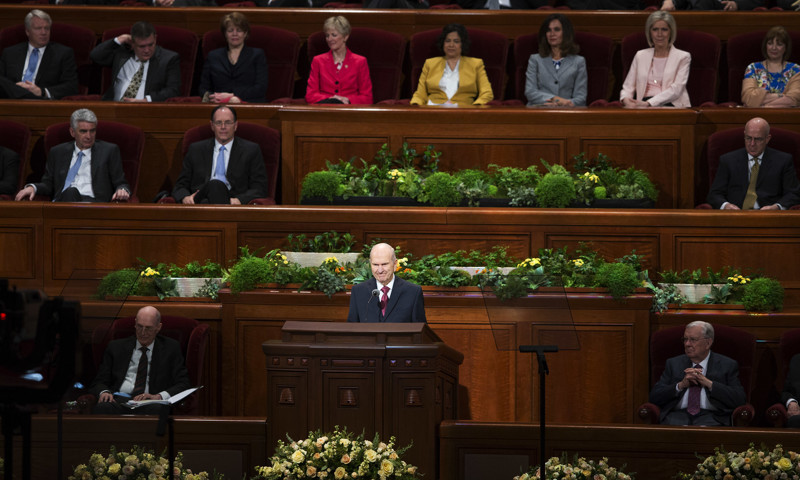 President Russell M. Nelson conducts the Sunday morning session of the 188th Annual General Conference of The Church of Jesus Christ of Latter-day Saints in the Conference Center in Salt Lake City on Sunday, April 1, 2018.
