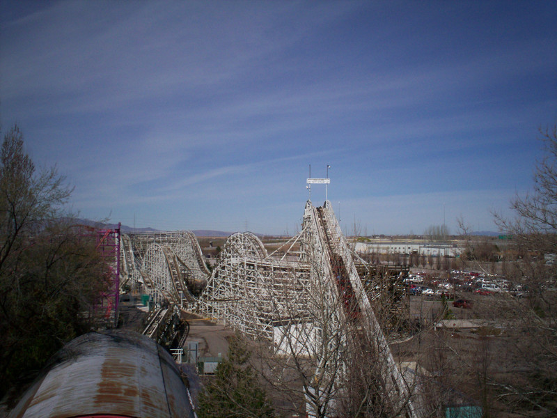 Lagoon's historic wooden roller coaster, that first opened in 1921, as seen from the Skyride on the east side.