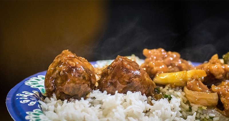 A close-up of food served at the U.S. Department of Agriculture Interfaith Iftar Celebration in Washington, D.C., on June 22, 2017.