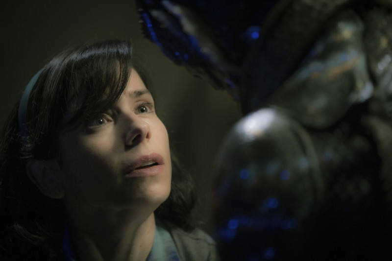 This image released by Fox Searchlight Pictures shows Sally Hawkins, left, and Doug Jones in a scene from the film