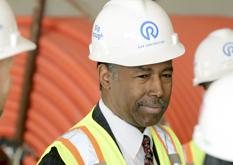 Housing and Urban Development Secretary Ben Carson listens to builders as he visits the HUB of Opportunity in Salt Lake City on Thursday, July 11, 2019. The 200,00 square foot HUB of Opportunity is a mixed-use real estate development HUD-supported facility is currently under construction near 3900 South West Temple.