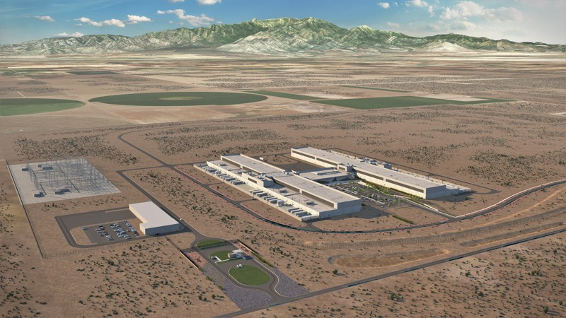 Artist's rendering of the planned Facebook data center in Eagle Mountain.