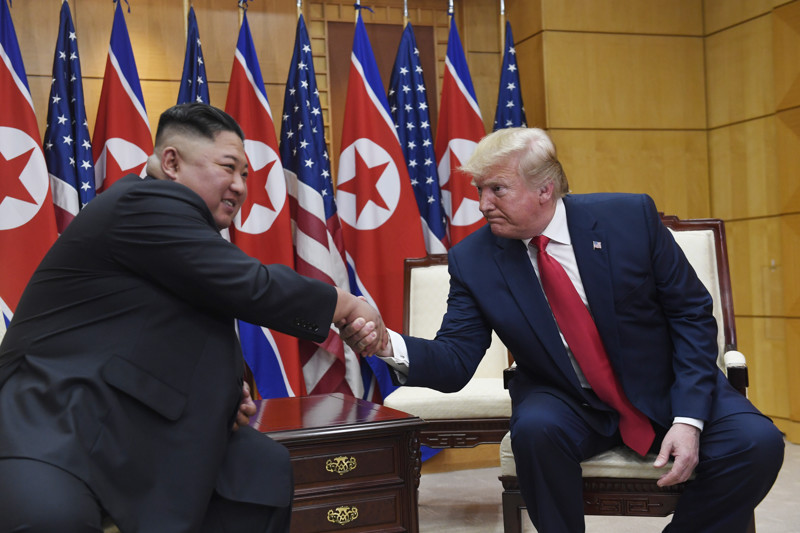FILE - President Donald Trump meets with North Korean leader Kim Jong Un at the border village of Panmunjom in the Demilitarized Zone, South Korea, Sunday, June 30, 2019.