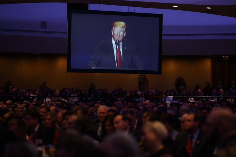 President Donald Trump speaks during the National Prayer Breakfast on Thursday, Feb. 7, 2019, in Washington.