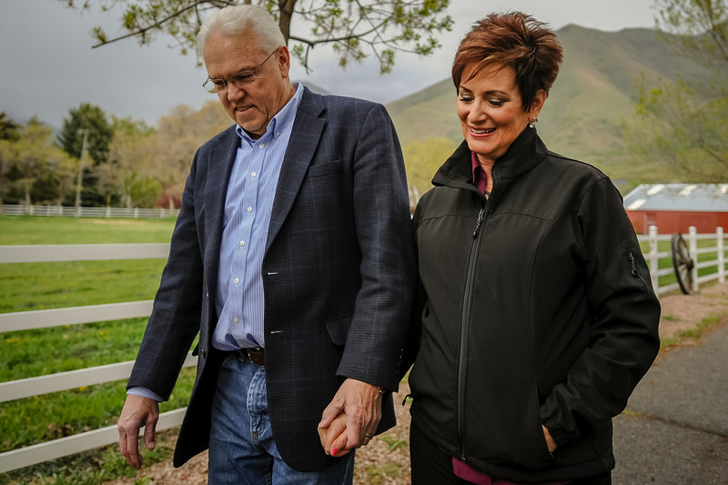 Steve Croshaw and his wife Rhyll Croshaw taken a walk on their property in Mapleton, Utah, on Wednesday, May 2, 2018.