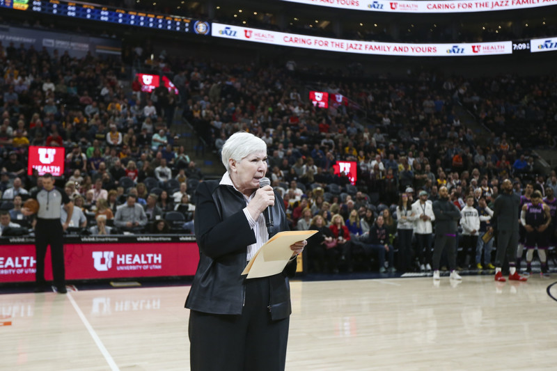 Utah Jazz owner Gail Miller addresses fans and conduct in game after an event involving Russell Westbrook Oklahoma City Thunder before the Jazz play the Minnesota Timberwolves at Vivint Smart Home Arena in Salt Lake City on Thursday, March 14, 2019.
