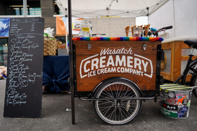 A cargo-trike serves as the counter at Wasatch Creamery Ice Cream Company's stand at the Kimball Arts Festival in Park City on Saturday, Aug. 3, 2019.