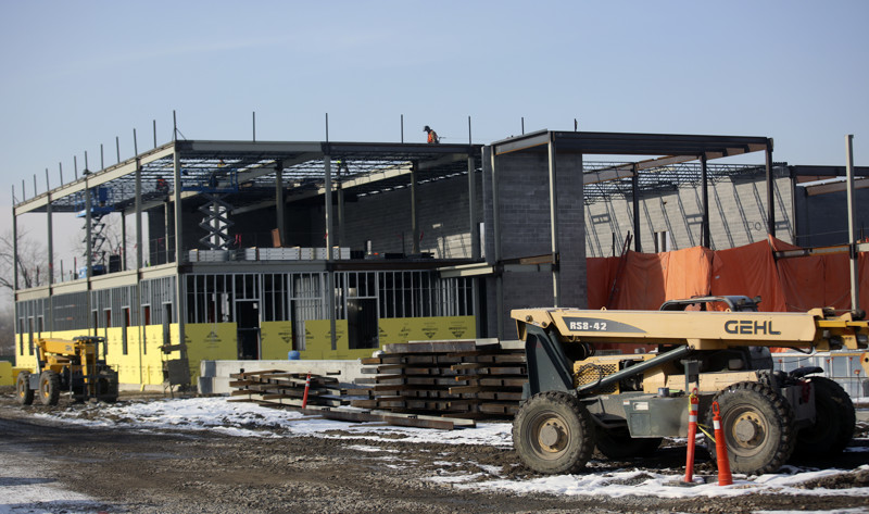 Construction continues on the new homeless shelter in South Salt Lake on Friday, Jan. 4, 2019. Salt Lake County has bought the homes surrounding the new homeless shelter site.